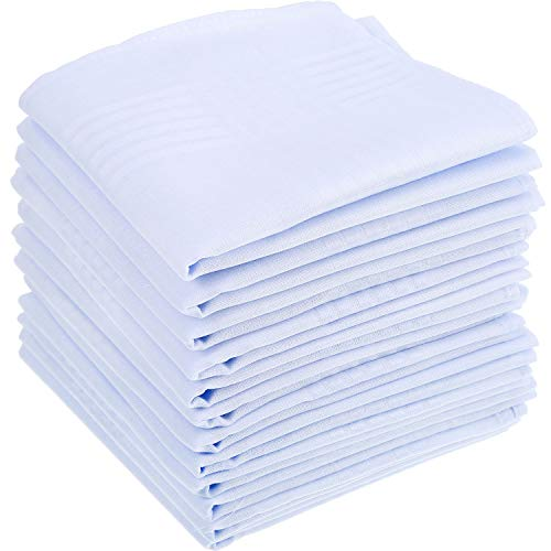 15 Piezas de Pañuelo de Algodón Blanco Puro Pañuelo de Bolsillo Cuadrado Grande para Hombres