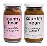 Country Bean Instant Coffee Powder with Hazelnut and Vanilla Flavours, 60g - Pack