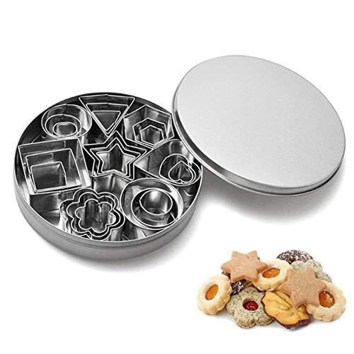 Sibosen 24 STK. Edelstahl Keksformen Mini geometrisch geformte Cookie Keks Ausstecher Set 24 Octagon DIY Tools für Küche, Backen, Halloween, Weihnachten Ausstecher mit Aufbewahrungsbox