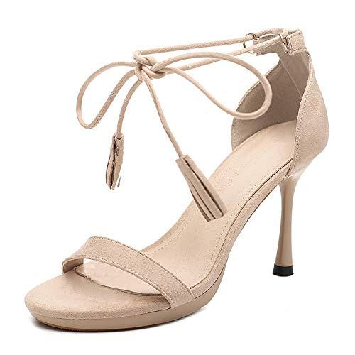 Vrouwen satijnen bruids partij sandalen,Stiletto hoge hakken, sexy sandalen met bandjes-Abrikoos_37,Heel Lace Satin Pumps Satin