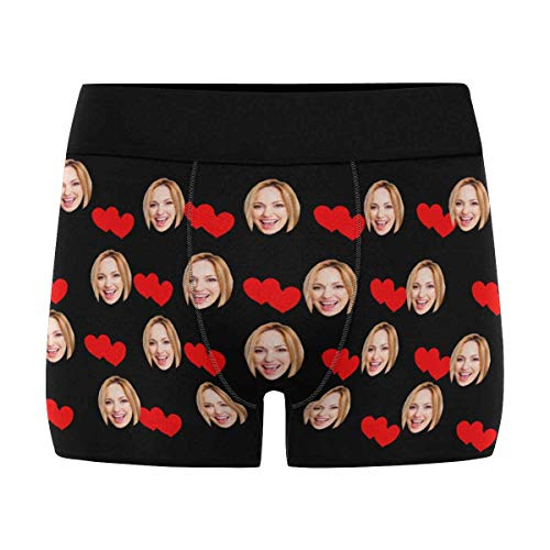 Custom Men's Boxer Briefs, Funny Novelty Underwear Shorts Underpants with Face Photo Red Love Heart Valentine's Day Black S