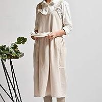 料理ベーキングフラワーショップラッフルズ作業クリーンエプロンのために女性の制服レディドレスのために中世洗浄さコットンリネンキッチンエプロン (Color : Gray)