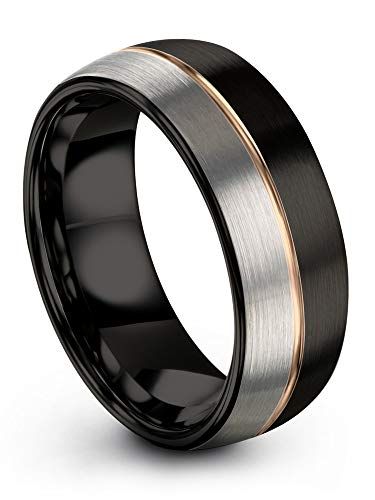 Midnight Rose Collection Tungsten Wedding Band Ring 6mm for Men Women 18k Rose Gold Plated Dome Center Line Black Grey Half Brushed Polished Size 9