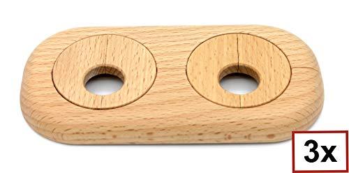 3 Stück Doppel-Rosette für Heizungsrohre, Rohrabstand variabel, Echtholz: Ahorn, Buche, Eiche, Nuss, Abdeckung, Heizkörper, 15mm, 19mm, 22mm, Holz, Parkett, Holzrosette (19mm, Buche)