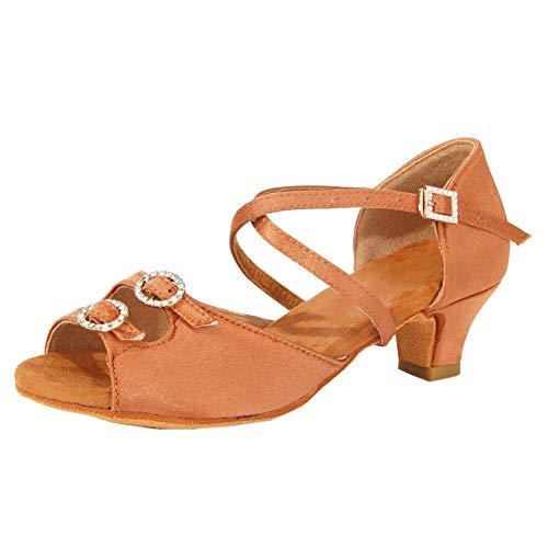 SWDZM Zapatos de Baile Latino Mujer Salsa Bachata Zapatos de Baile de Salon,Tacón-4cm,Modelo-WHD26,Marrón, 35EU