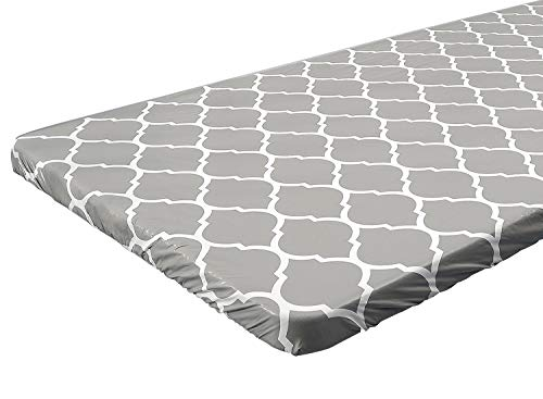 4 ft Gray Moroccan Rectangular Fitted Plastic Table Cover, Waterproof Elastic Edge Vinyl Tablecloth with Flannel Backing, Fits 24 x 48 Inch Picnic Folding Table, for Outdoor Travel/Holiday/Party