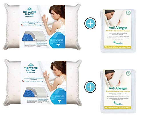 Mediflow Water Pillow Memory Foam re-Invented with Waterbase Technology - Clinically Proven to Reduce Neck Pain & Improve Sleep Quality. (Value Pack)