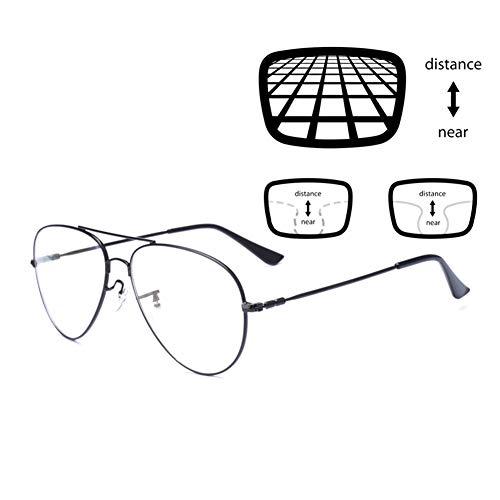 ACXZ Lesebrille Pilotenbrille blaulichtfilter Brillen, Progressive Multifokus-Lesebrillen für Herren Damen, Flexible Bügel, übergroßer Rahmen, Schwarz(2.0, 2.25, 2.75,3.0)