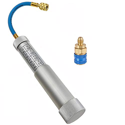 ThreeH R12 R12 AC-Ölfarbstoff-Injektorspritze 2Oz Handdrehschraube Typ 1/4 Zoll SAE-Anschluss für Klimaanlage Kältemittel-Füllrohr-Injektionswerkzeug