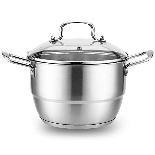 Vaporizador De Acero Inoxidable Acero inoxidable inferior sopa de vapor universal grueso Inicio Inicio de cocina de vapor Pot establecidas for todos los de cocina ( Color : Silver , Size : 28x22cm )