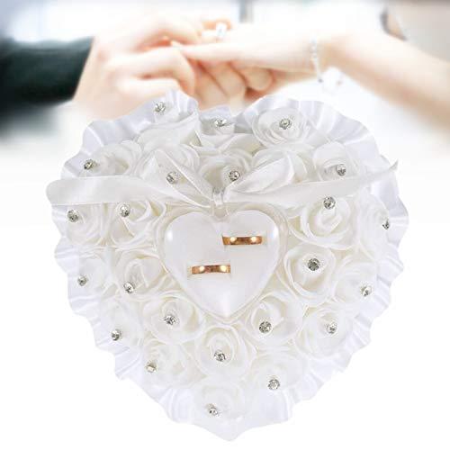Ringkissen für die Hochzeit, romantische herzförmig Ringhalter mit Rose feinem Strasssteinchen und Schleife Verzierung, Ringträger Kissen Mit kleiner Ringbox für Eheringe