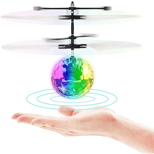 Aiiwqk Bola de juguete volador de inducción infrarroja RC Builtin lámpara LED Disco helicóptero de color brillante Flying Drone interior y exterior Juego de juguetes, para niños y niñas