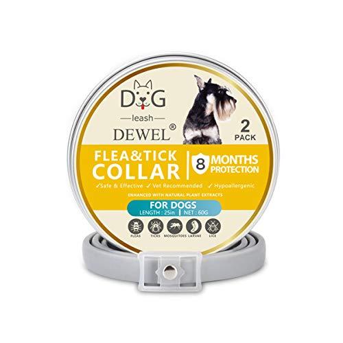 Dewel Collar Antiparasitos Perros/Gatos Contra Pulgas,Garrapatas y Mosquitos,Tamaño Ajustable e Impermeable para Mascota Pequeño Mediano Grandes