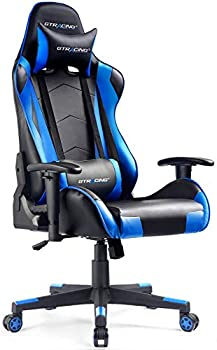 GTRACING Gaming Chair Racing Office Computer Ergonomic Video Game Chair Backrest and Seat Height Adjustable Swivel Recliner with Headrest and Lumbar Pillow Esports Chair Blue