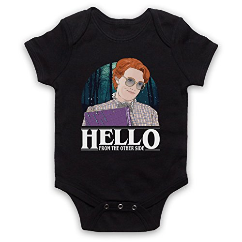 My Icon Art & Clothing Stranger Barb Hello from The Other Side Sci FI Horror TV Bébé Barboteuse Bodys, Noir, 0-3 Mois