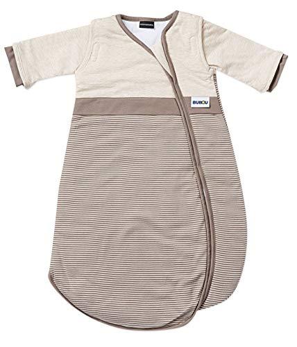 Gesslein Bubou 180 temperaturregulierender Ganzjahreschlafsack/Schlafsack für Babys/Kinder, Größe 70, beige braun gestreift