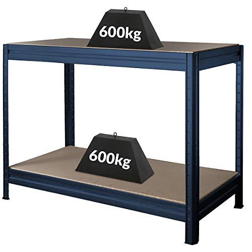 Banco di lavoro regolabile in altezza | Blu | 87 x 120 x 60 cm | Profondità 60 cm | Portata 600 kg