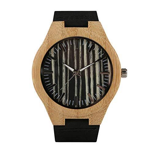 DZNOY Reloj de madera Reloj de madera para hombre con esfera de rayas de bambú, relojes casuales, correa de piel de bambú, reloj de bolsillo para hombre (color: relojes masculino)