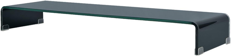 VidaXL TV-Glasaufsatz Tisch Monitor Erhhung Glasbühne Podest Schwarz 120x30x13