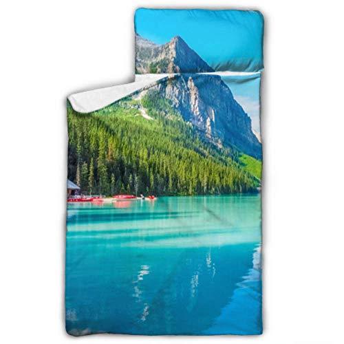 WYYWCY Wunderschöne Natur Lake Louise Banff National Kid Schlafsack Schlafsack Reisetasche mit Decke und Kissen Rollup Design ideal für Vorschule Kindertagesstätte Sleepovers 50