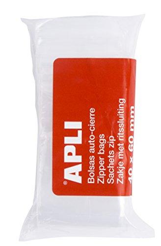 APLI 13247 - Pack de 100 bolsas de plástico con autocierre, 40 x 60 mm