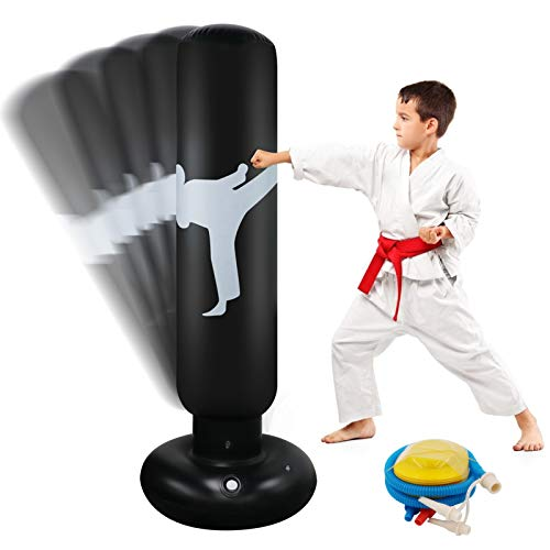 Aufblasbarer Boxsack Für Kinder 63 Zoll Freistehender Fitness Zielständer Tower Tasche Hochleistungs-Becher Säule Säcksack Für Box Karate Training Für Jugendliche Erwachsene Indoor Outdoor. (White)