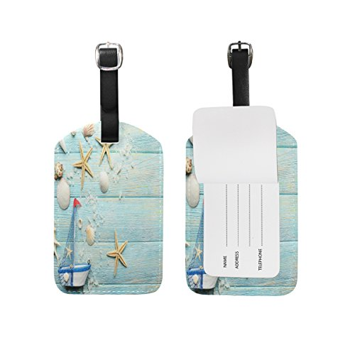 Domoko Sea Boat Sea Shell Starfish Luggage Tags Travel ID Bag Tag 1 Piece