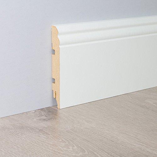 Sockelleiste Altbau-Leiste Hamburger Berliner Profil aus MDF in Weiß 2600 x 19 x 115 mm