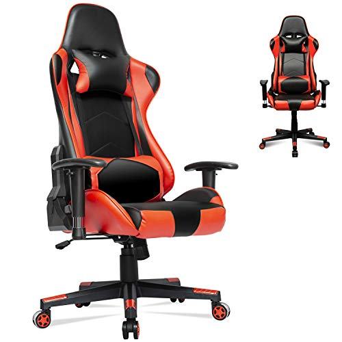 Gaming Chair Racing Office Computer Ergonomic Video Game Chair PU Leather Desk Chair Backrest and Seat Height Adjustable Swivel Recliner with Headrest and Lumbar Pillow E-Sports Chair (Red)