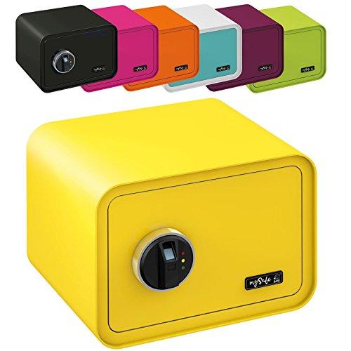 MySafe Tresor Design Safe 250 x 350 x 280 mm (HxBxT) Fingerabdruck Schloss verschiedene Farben grün, lila, pink, blau/, Gelb