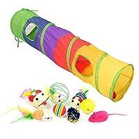 カラフルな猫のおもちゃペットキット折りたたみトンネル4穴プレイチューブボールフェザーマウス形ペット子猫猫インタラクティブ用品-トンネル-9PCS_L