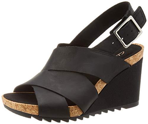 Clarks Flex Sand, Sandalias de Talón Abierto Mujer, Negro (Black Leather Black Leather), 37 EU