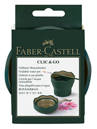 Faber-Castell - Vaso para el agua Clic & Go plegable fácil de guardar, color verde y oro