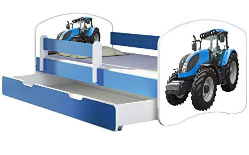 ACMA Kinderbett Jugendbett mit Einer Schublade und Matratze Blau mit Rausfallschutz Lattenrost II 140x70 160x80 180x80 (42 Traktor, 180x80 + Bettkasten)