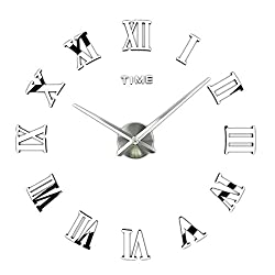 FORUSKY Large 3D DIY Frameless Mirror Surface Roman Numerals Wall Clock Wall Sticker for Living Room,Bedroom, Home,Office Decor - Silver