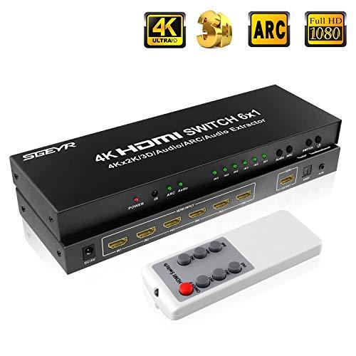 SGEYR 6x1 HDMI Umschalter 4K 6 Port HDMI Switch 6 In 1 Out HDMI Switcher Schalter mit Audio Extractor|3.5mm Audio und SPDIF Output|ARC Funktion| Unterstützung 4K 30Hz 3D 1080P HDMI 1.4