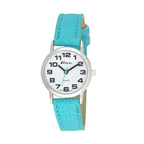 Ravel - Damen (klein) - Armbanduhr mit großen Ziffern - Hellblau/silbernes Ton/weißes Zifferblatt