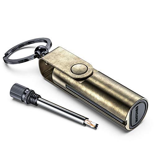 VVAY Metall Streichholz Benzin Feuerzeug, Feuerstarter mit Schlüsselanhänger, Outdoor Survival Nachfüllbar Feueranzünder Feuerstahl (Versand ohne Benzin)