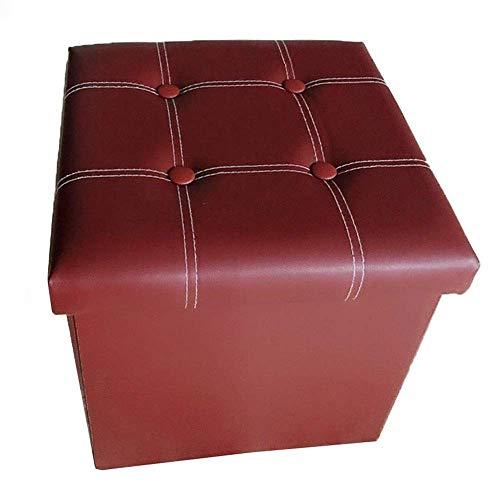 Ducomi Soraya - Puf cubo reposapiés, taburete plegable de piel sintética - Baúl porta juegos, sillón contenedor para salón, decoración diseño italiano 39 x 39 x 36 cm