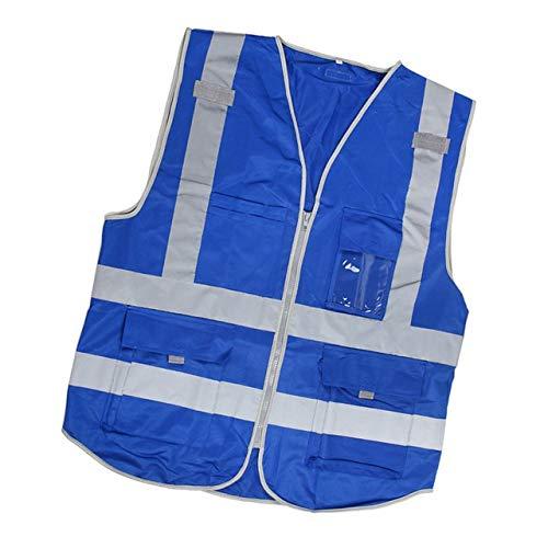 Warnweste Hohe Sichtbarkeit Reflektierende Sicherheitsweste mit Taschen Zipper Breathable Ineinander greifen Jacke Weste for den BAU Metro 112x67cm Persönlicher Schutz (Color : Blue)