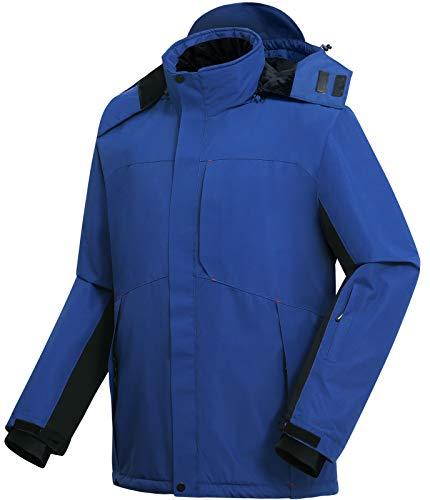 Vzteek ski Jacke Herren Snowboardjacke funktions Hardshell Jacke für Winter wasserdichte Herren(Blau,XL)