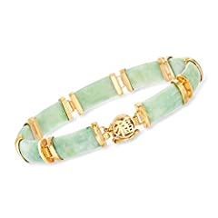 "18kt yellow gold over sterling silver, green jade bracelet for women. 3/8"" wide. 7.5"" long. Box clasp provides security that blends seamlessly into the design.  Includes jewelry presentation box and 30-day, 100% money-back guarantee. GREEN JADE BRACE..."