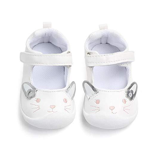 Feewerain Baby-PU-Leder-Schuhe Anti-Rutsch-Sohle Magie-Aufkleber-Entwurf Schuhe Mokassins Krippe Schuhe Indoor Prewalker Schuhe Weiß 13cm