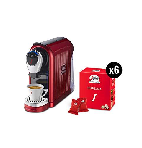 Segafredo Zanetti Coffee System - Cafetera expreso 1 Plus roja, compacta, intuitiva y elegante con 60 cápsulas expreso originales Segafredo, aroma equilibrado y crema.