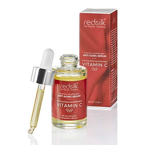 Intensiv straffendes Anti Aging und Anti Falten Serum fürs Gesicht mit hochkonzentriertem Vitamin C und Botulinum Effekt von der Beauty-Marke Red Silk, Dermaroller geeignet