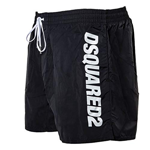 DSQUARED2 Herren Badehose - Boxer Midi, Badeshort, Logo, Mesheinsatz, einfarbig (54 (XX-Large), Schwarz)