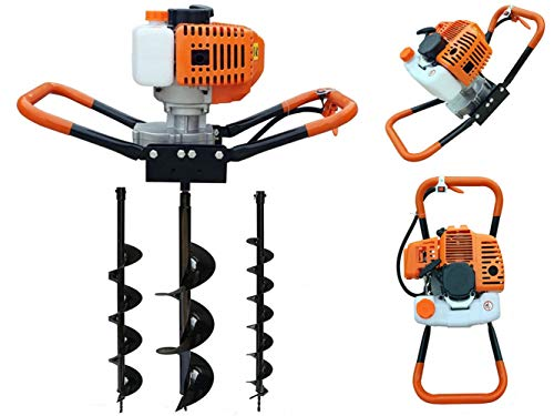 Post Hole Digger, 2-Stroke 52cc Fence Earth Auger Gas Powered Post Hole Digger + 4'/6'/8' Drill Bits