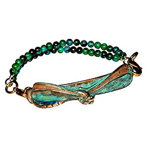 Brass Dragonfly Interchangeable Rockband Chrysocolla Bracelet