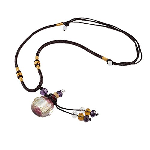 MagiDeal Collar Colgante con Botella de Aceite Esencial Difusor de Cristal Joyería de Moda - Púrpura Ligera