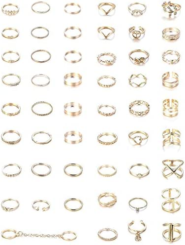 YADOCA 52 Pcs Simple Knuckle Rings for Women Vintage Stackable Midi Finger Rings Set Silver product image